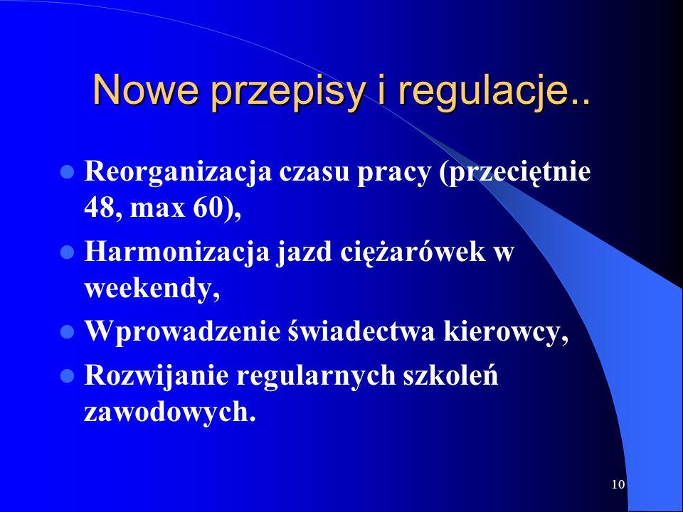 10 Nowe przepisy i regulacje.. Reorganizacja czasu pracy (przeciętnie 48, max 60), Harmonizacja jazd ciężarówek w weekendy, Wprowadzenie świadectwa ki