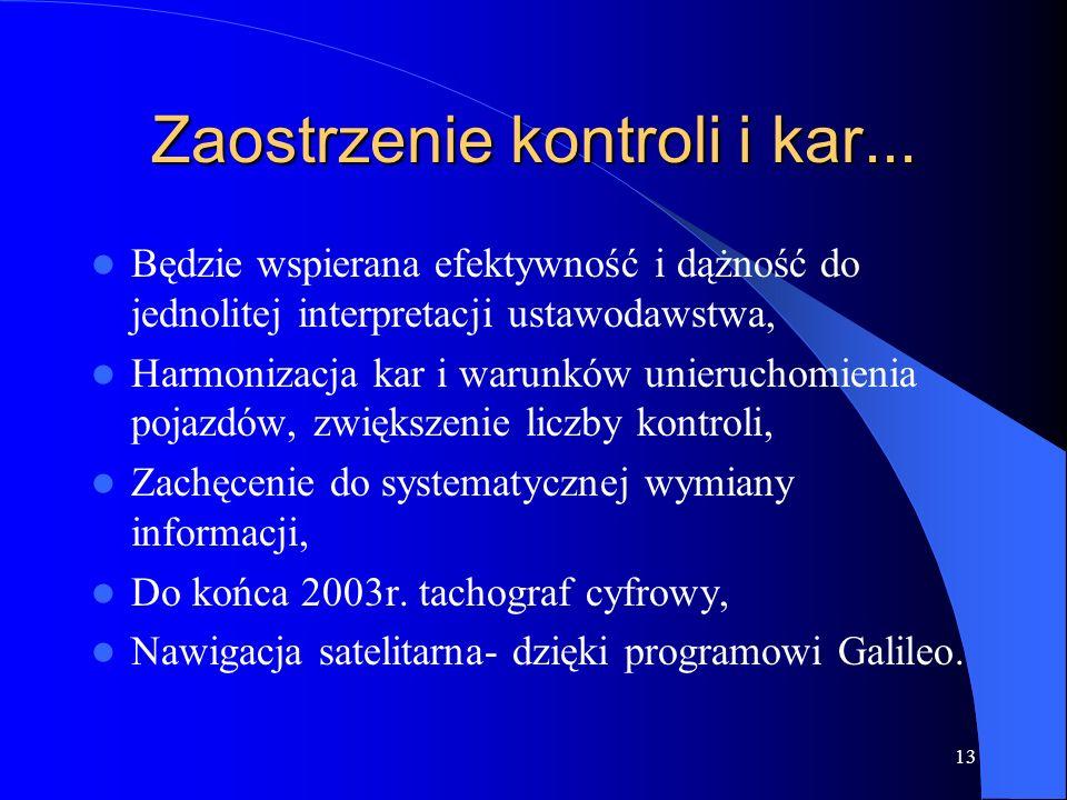 13 Zaostrzenie kontroli i kar... Będzie wspierana efektywność i dążność do jednolitej interpretacji ustawodawstwa, Harmonizacja kar i warunków unieruc