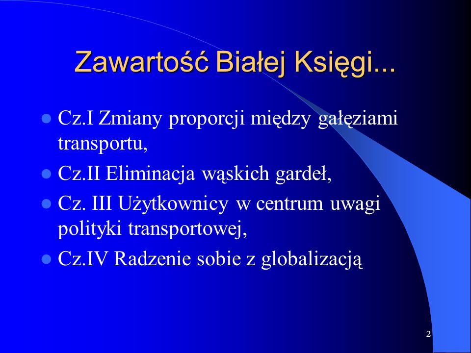 2 Zawartość Białej Księgi... Cz.I Zmiany proporcji między gałęziami transportu, Cz.II Eliminacja wąskich gardeł, Cz. III Użytkownicy w centrum uwagi p