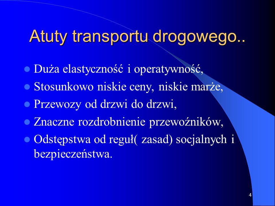 4 Atuty transportu drogowego.. Duża elastyczność i operatywność, Stosunkowo niskie ceny, niskie marże, Przewozy od drzwi do drzwi, Znaczne rozdrobnien