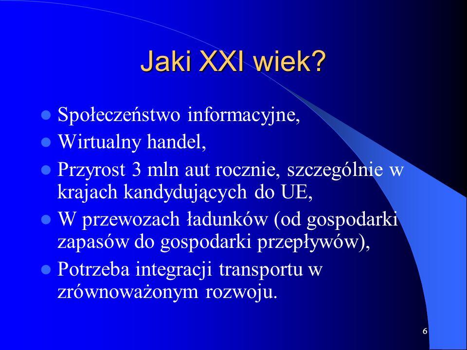 6 Jaki XXI wiek? Społeczeństwo informacyjne, Wirtualny handel, Przyrost 3 mln aut rocznie, szczególnie w krajach kandydujących do UE, W przewozach ład