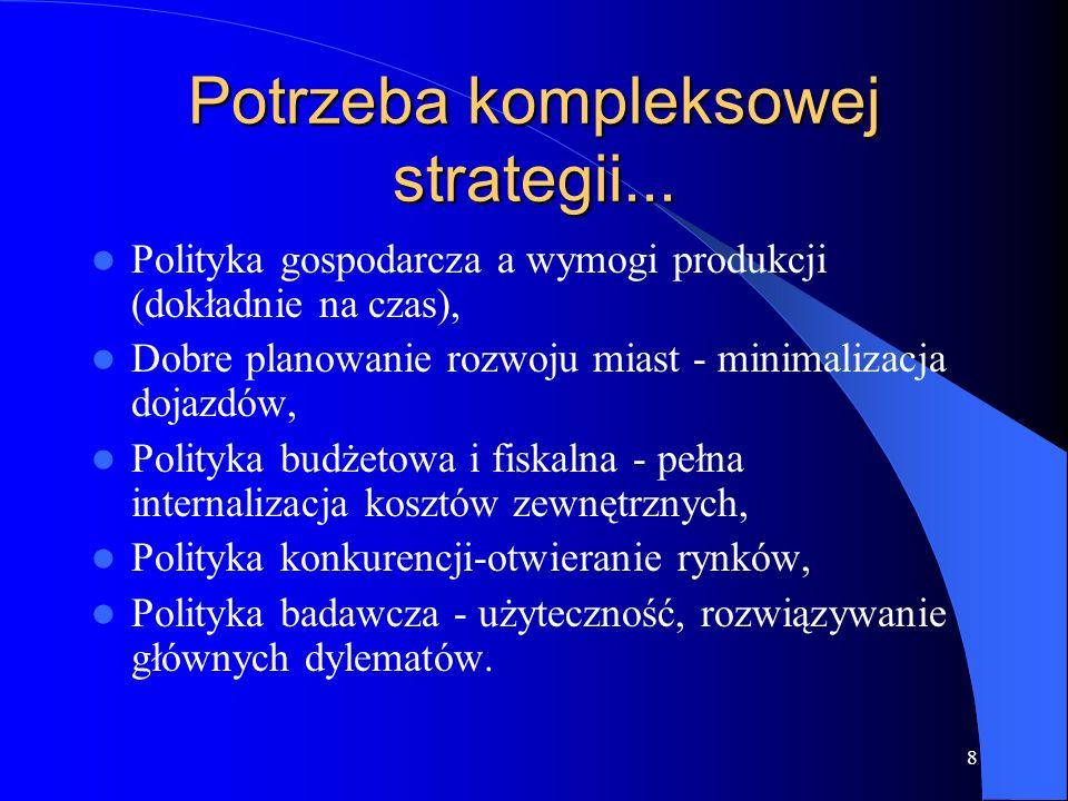 8 Potrzeba kompleksowej strategii... Polityka gospodarcza a wymogi produkcji (dokładnie na czas), Dobre planowanie rozwoju miast - minimalizacja dojaz