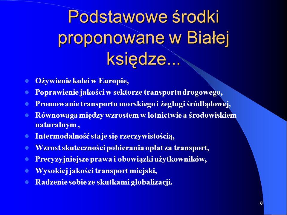 9 Podstawowe środki proponowane w Białej księdze... Ożywienie kolei w Europie, Poprawienie jakości w sektorze transportu drogowego, Promowanie transpo