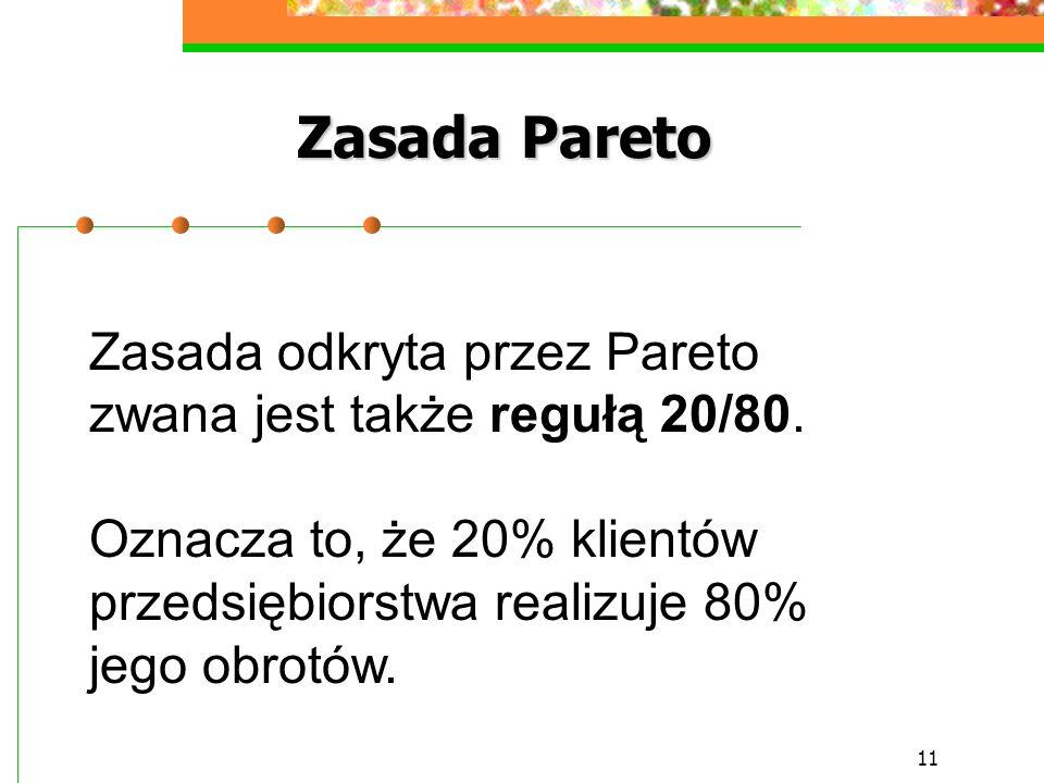 11 Zasada Pareto Zasada odkryta przez Pareto zwana jest także regułą 20/80. Oznacza to, że 20% klientów przedsiębiorstwa realizuje 80% jego obrotów.