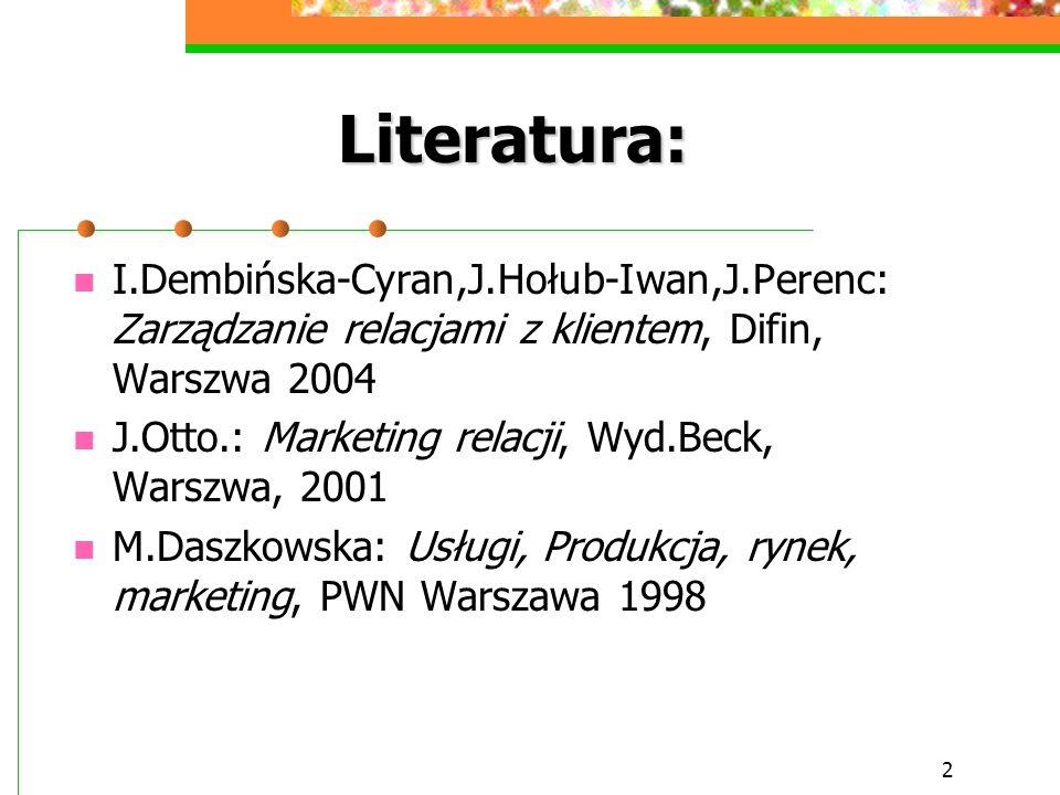 2 Literatura: I.Dembińska-Cyran,J.Hołub-Iwan,J.Perenc: Zarządzanie relacjami z klientem, Difin, Warszwa 2004 J.Otto.: Marketing relacji, Wyd.Beck, War