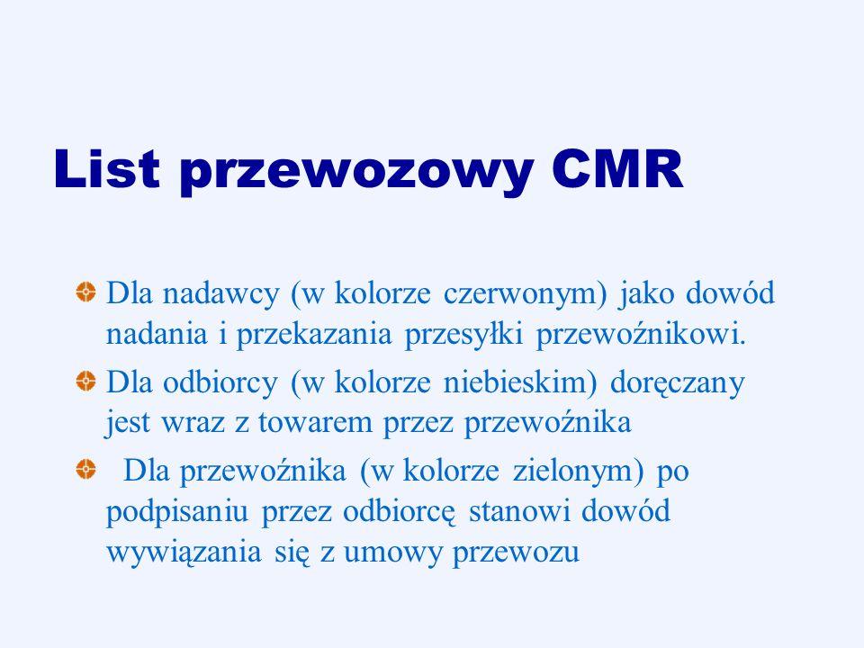 List przewozowy CMR Dla nadawcy (w kolorze czerwonym) jako dowód nadania i przekazania przesyłki przewoźnikowi. Dla odbiorcy (w kolorze niebieskim) do