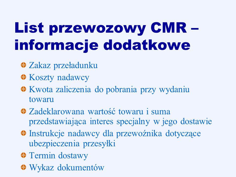List przewozowy CMR – informacje dodatkowe Zakaz przeładunku Koszty nadawcy Kwota zaliczenia do pobrania przy wydaniu towaru Zadeklarowana wartość tow
