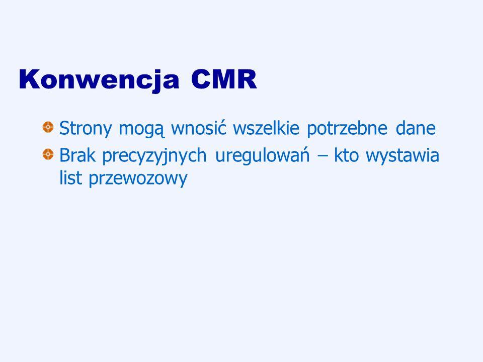 Konwencja CMR Strony mogą wnosić wszelkie potrzebne dane Brak precyzyjnych uregulowań – kto wystawia list przewozowy