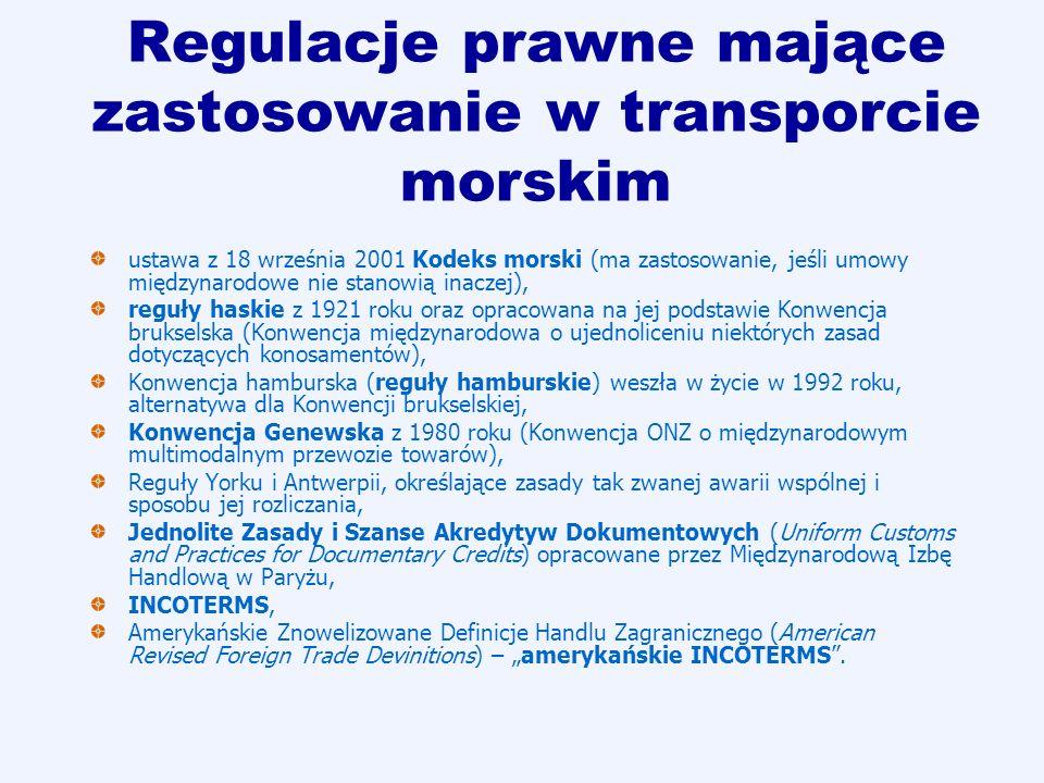 Regulacje prawne mające zastosowanie w transporcie morskim ustawa z 18 września 2001 Kodeks morski (ma zastosowanie, jeśli umowy międzynarodowe nie st
