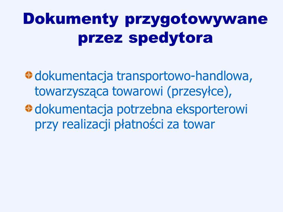 Dokumenty przygotowywane przez spedytora dokumentacja transportowo-handlowa, towarzysząca towarowi (przesyłce), dokumentacja potrzebna eksporterowi pr