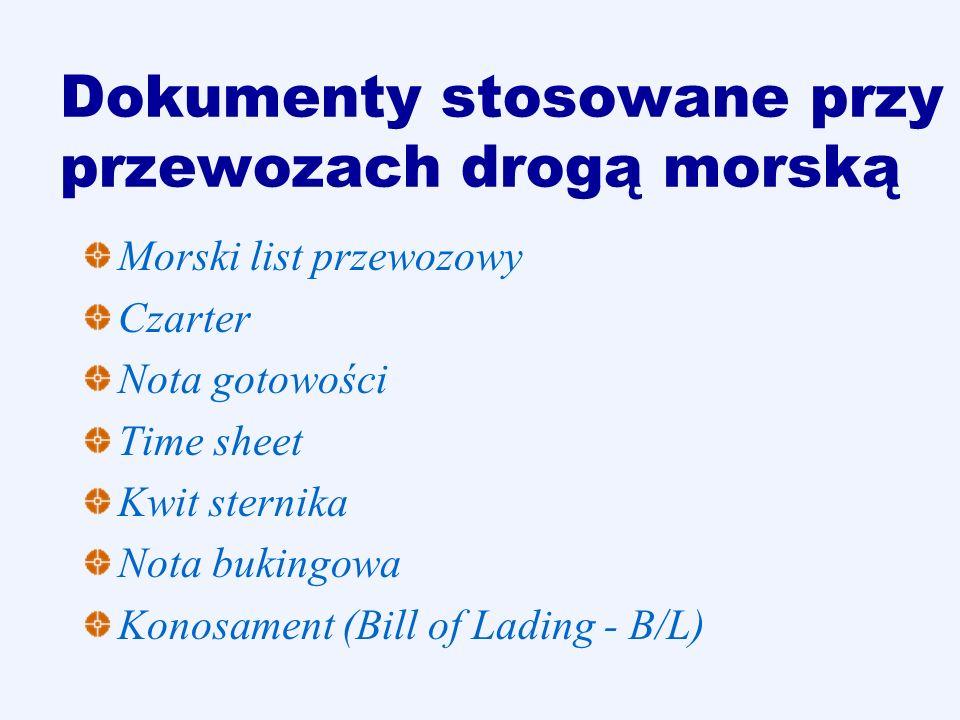 Dokumenty stosowane przy przewozach drogą morską Morski list przewozowy Czarter Nota gotowości Time sheet Kwit sternika Nota bukingowa Konosament (Bil