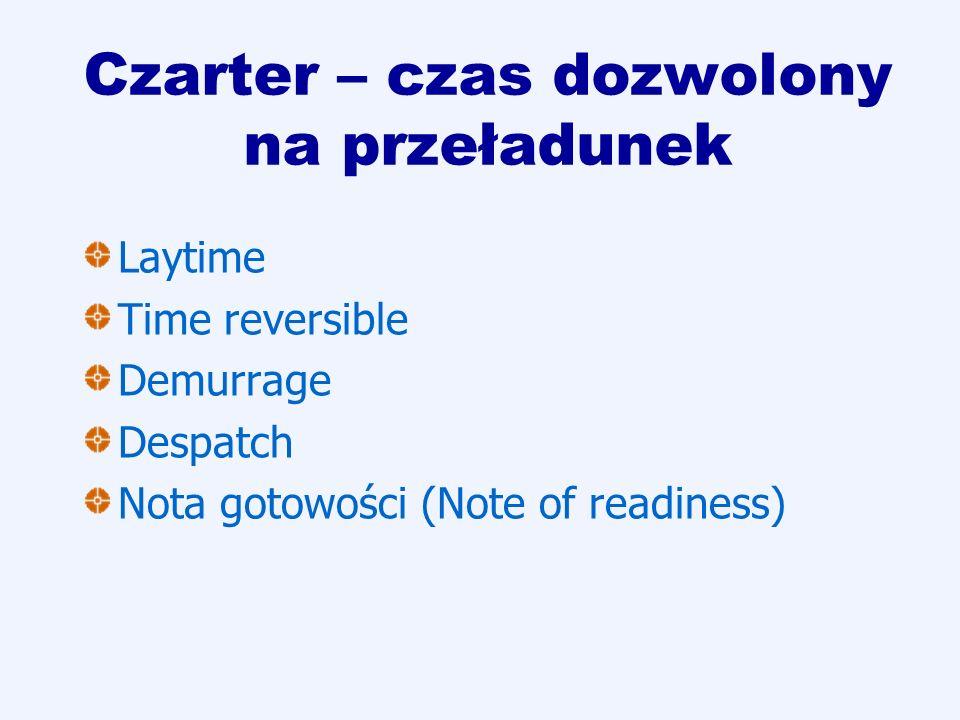 Czarter – czas dozwolony na przeładunek Laytime Time reversible Demurrage Despatch Nota gotowości (Note of readiness)