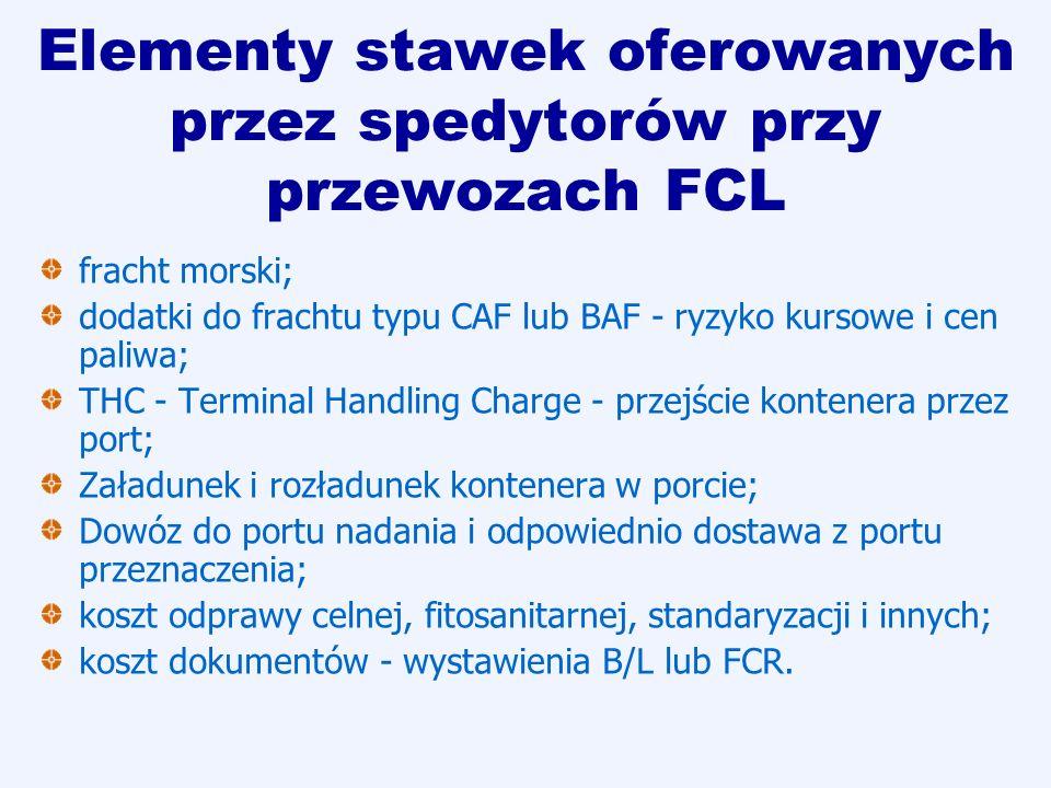Elementy stawek oferowanych przez spedytorów przy przewozach FCL fracht morski; dodatki do frachtu typu CAF lub BAF - ryzyko kursowe i cen paliwa; THC