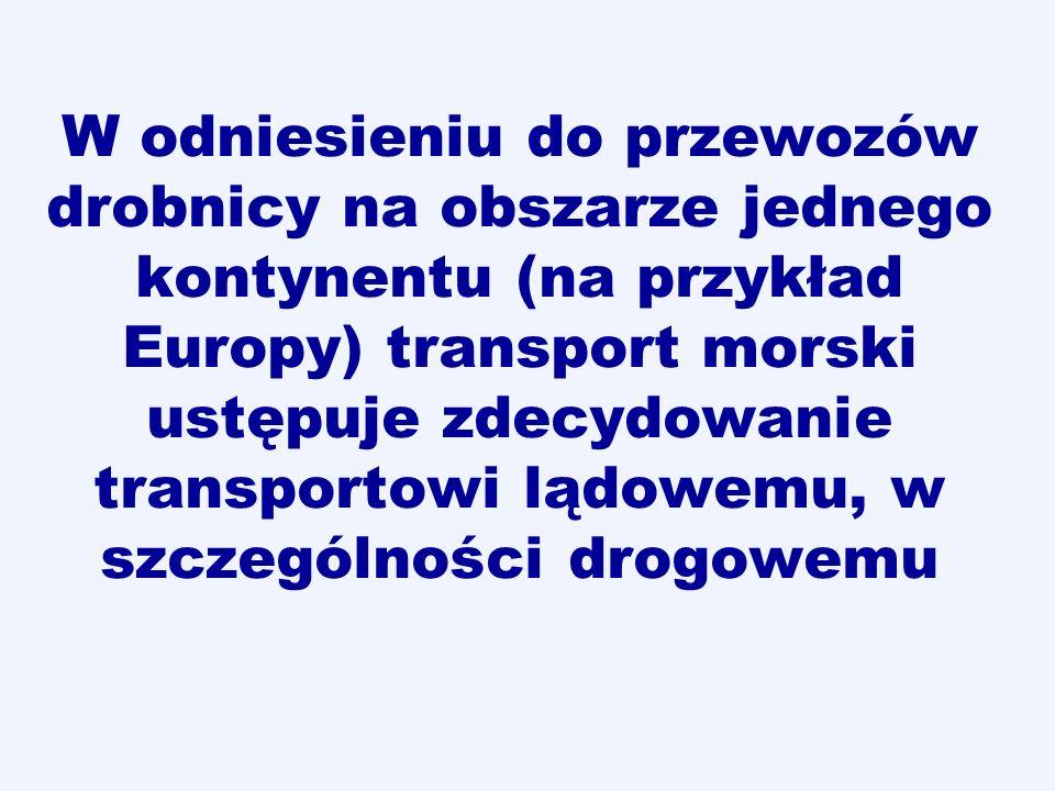 W odniesieniu do przewozów drobnicy na obszarze jednego kontynentu (na przykład Europy) transport morski ustępuje zdecydowanie transportowi lądowemu,
