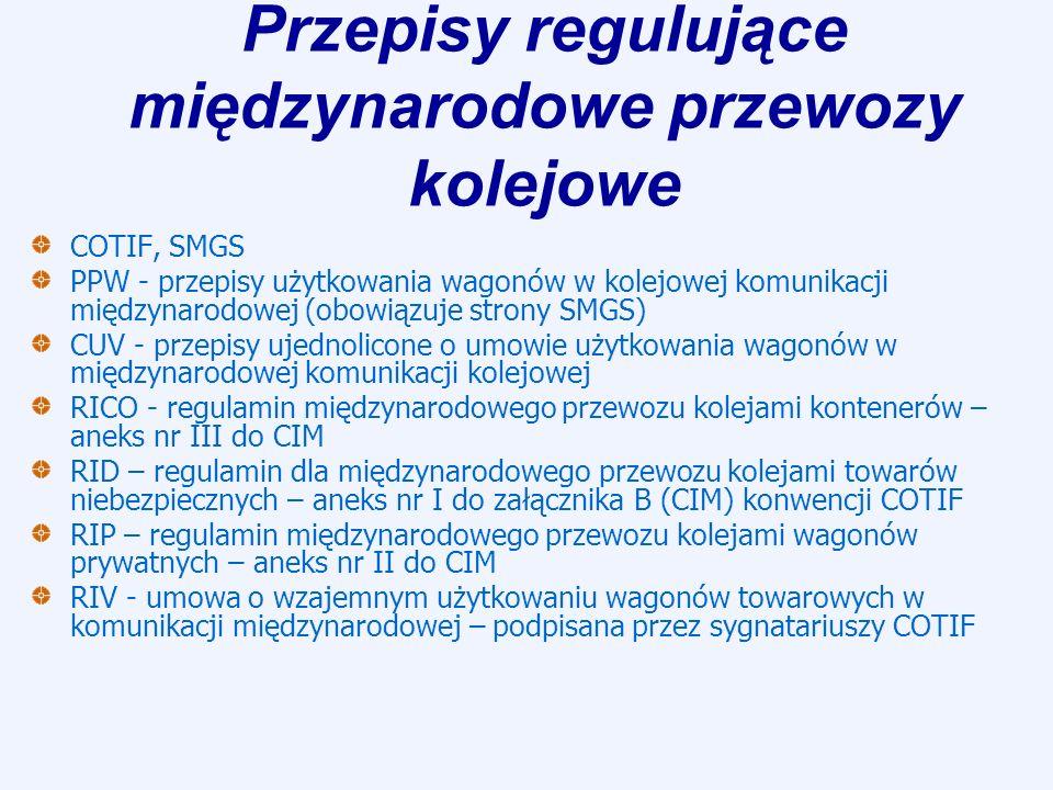 Przepisy regulujące międzynarodowe przewozy kolejowe COTIF, SMGS PPW - przepisy użytkowania wagonów w kolejowej komunikacji międzynarodowej (obowiązuj