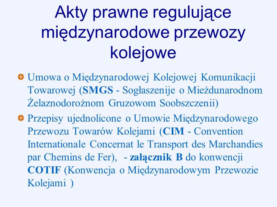 Akty prawne regulujące międzynarodowe przewozy kolejowe Umowa o Międzynarodowej Kolejowej Komunikacji Towarowej (SMGS - Sogłaszenije o Mieżdunarodnom