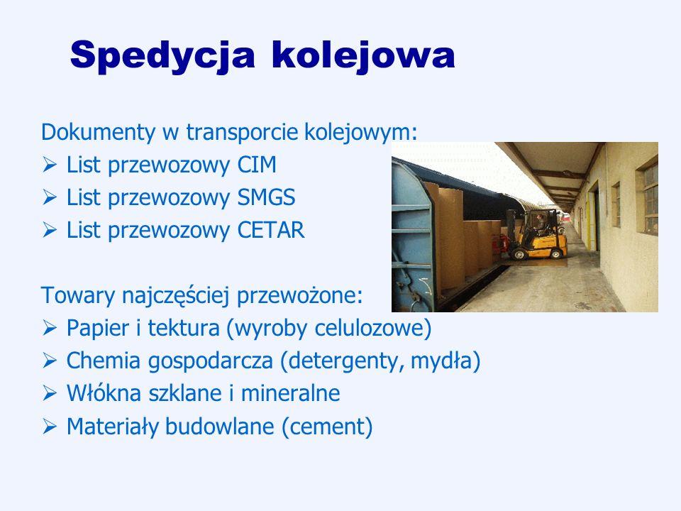 Spedycja kolejowa Dokumenty w transporcie kolejowym: List przewozowy CIM List przewozowy SMGS List przewozowy CETAR Towary najczęściej przewożone: Pap