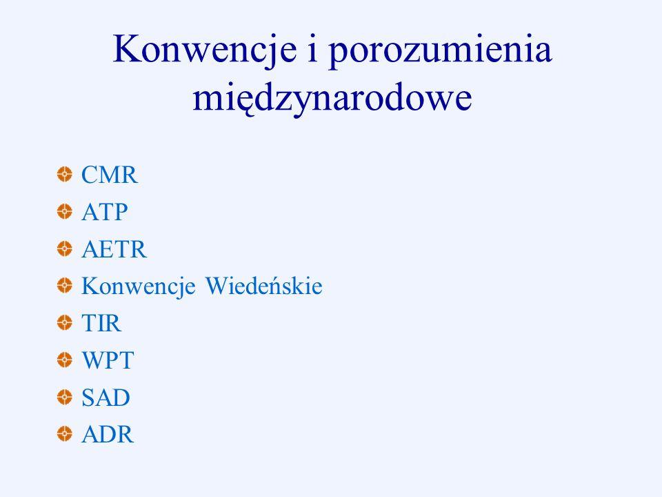 Konwencje i porozumienia międzynarodowe CMR ATP AETR Konwencje Wiedeńskie TIR WPT SAD ADR