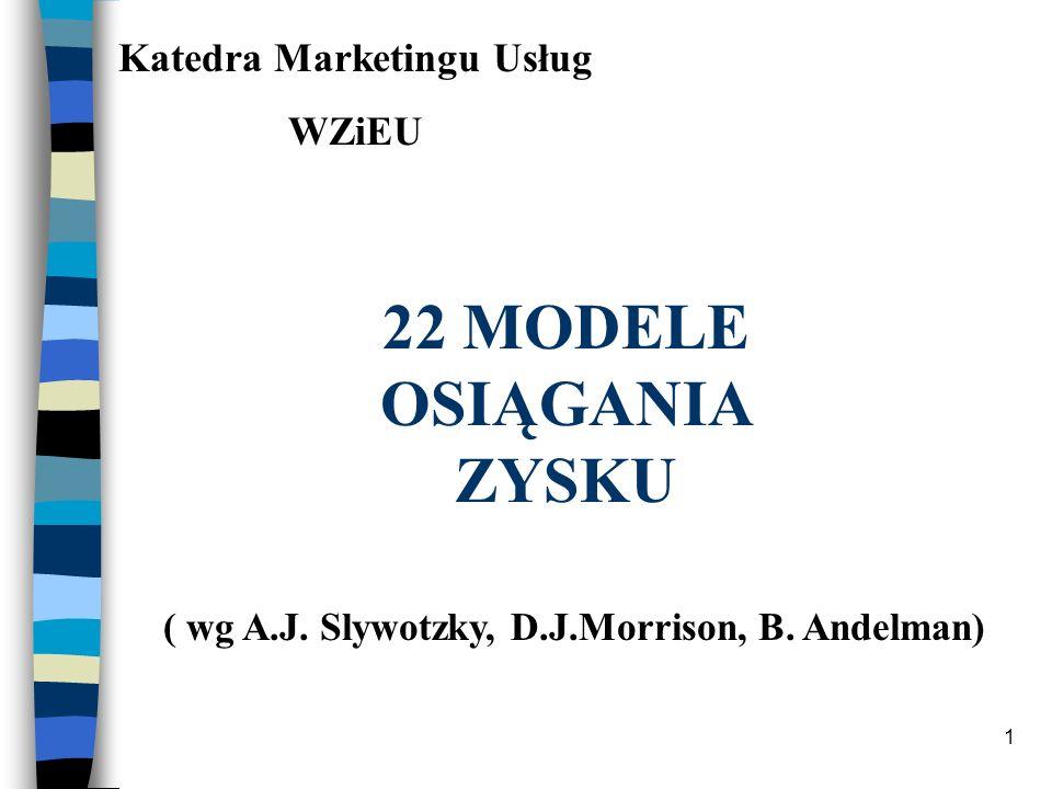 1 Katedra Marketingu Usług WZiEU 22 MODELE OSIĄGANIA ZYSKU ( wg A.J. Slywotzky, D.J.Morrison, B. Andelman)