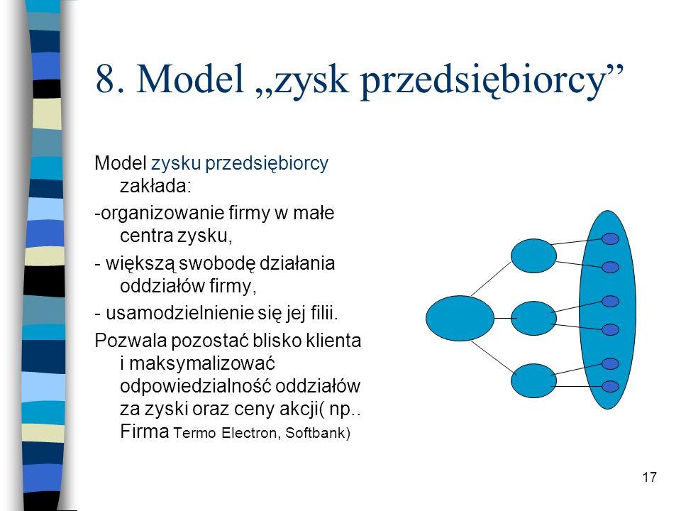 17 8. Model zysk przedsiębiorcy Model zysku przedsiębiorcy zakłada: -organizowanie firmy w małe centra zysku, - większą swobodę działania oddziałów fi