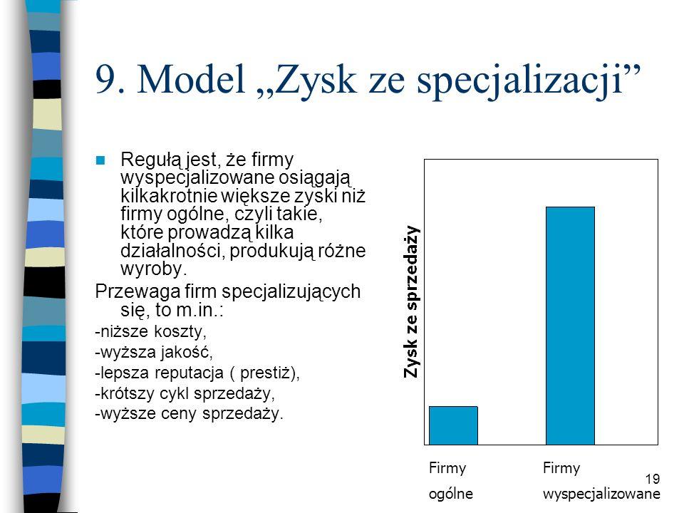 19 9. Model Zysk ze specjalizacji Regułą jest, że firmy wyspecjalizowane osiągają kilkakrotnie większe zyski niż firmy ogólne, czyli takie, które prow