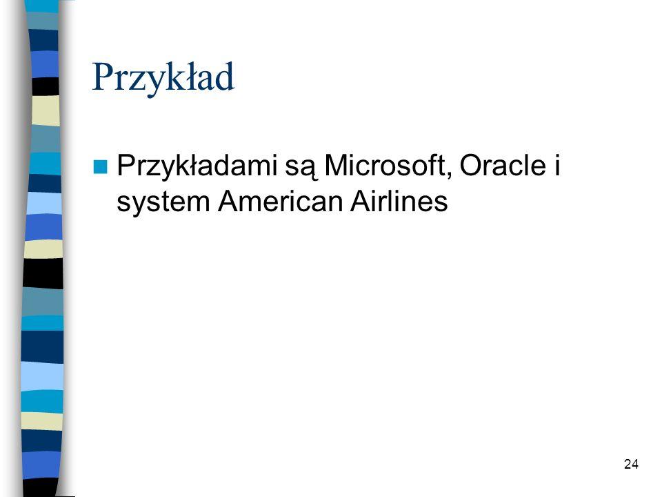 24 Przykład Przykładami są Microsoft, Oracle i system American Airlines