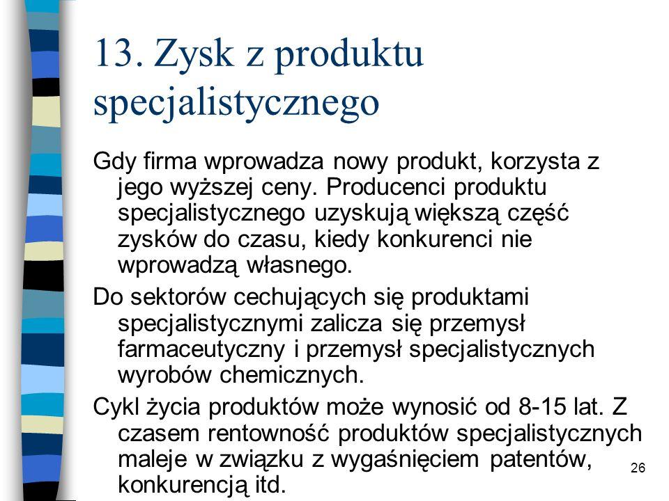 26 13. Zysk z produktu specjalistycznego Gdy firma wprowadza nowy produkt, korzysta z jego wyższej ceny. Producenci produktu specjalistycznego uzyskuj