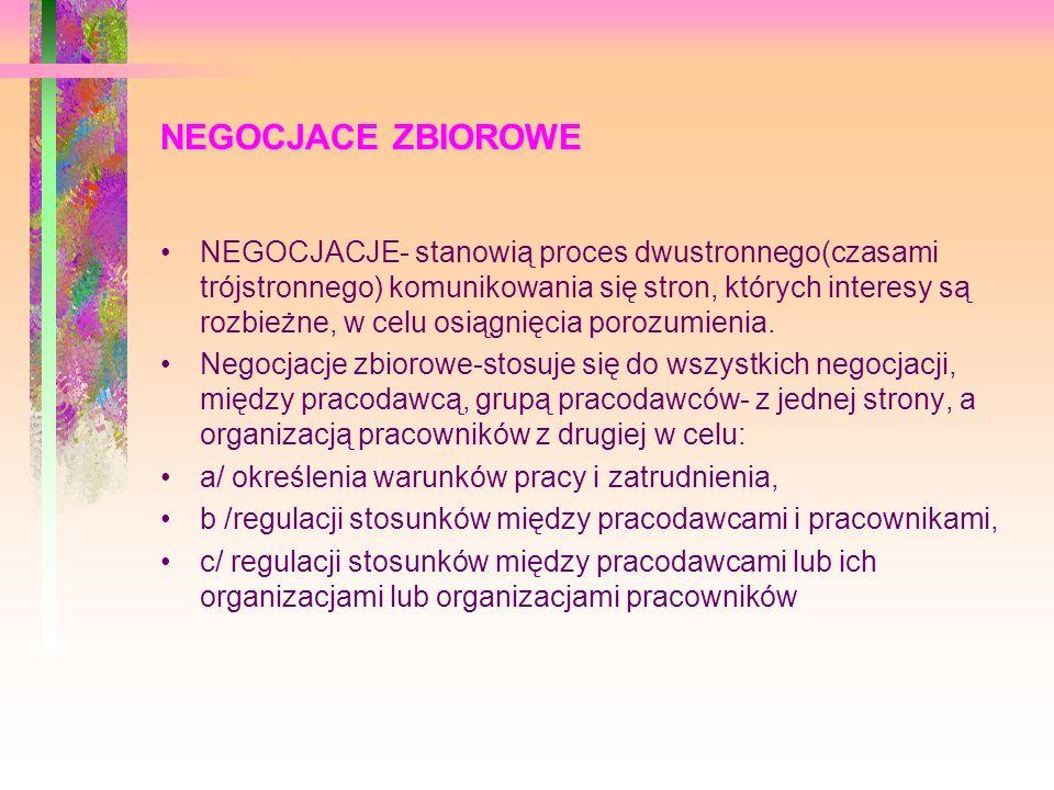 NEGOCJACE ZBIOROWE NEGOCJACJE- stanowią proces dwustronnego(czasami trójstronnego) komunikowania się stron, których interesy są rozbieżne, w celu osią