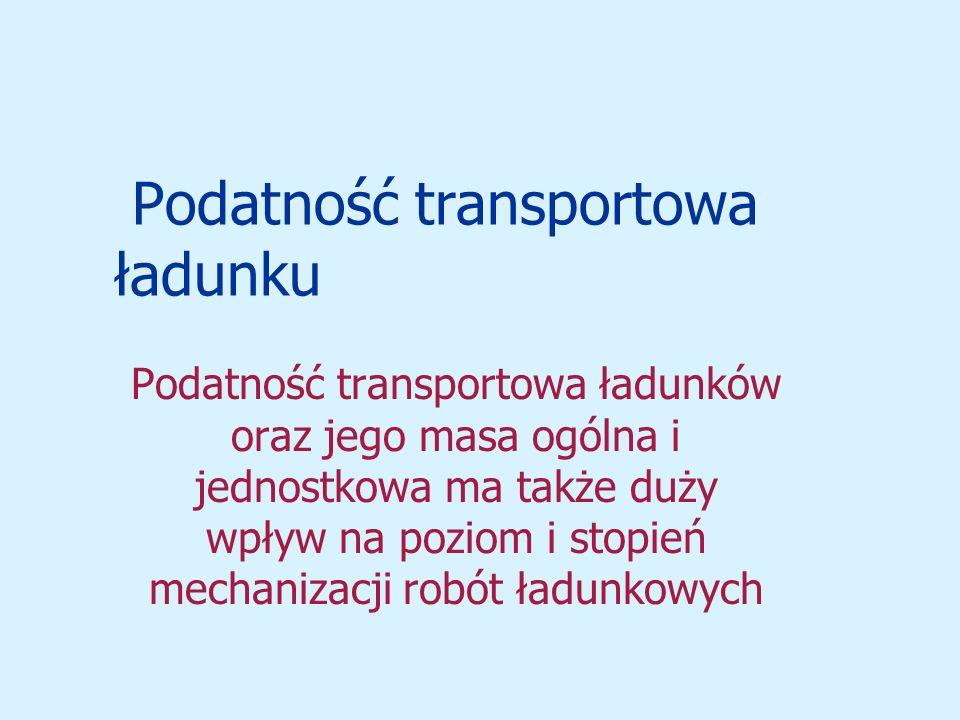 Podatność transportowa ładunku Podatność transportowa ładunków oraz jego masa ogólna i jednostkowa ma także duży wpływ na poziom i stopień mechanizacji robót ładunkowych