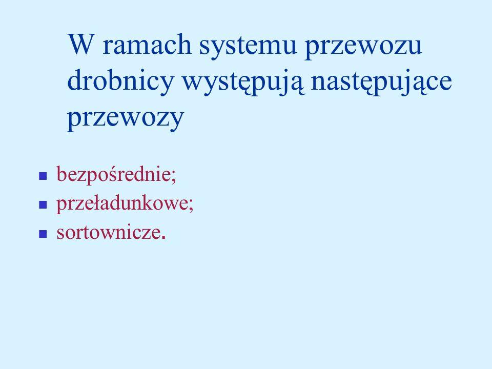 W ramach systemu przewozu drobnicy występują następujące przewozy bezpośrednie; przeładunkowe; sortownicze.