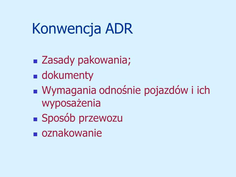 Konwencja ADR Zasady pakowania; dokumenty Wymagania odnośnie pojazdów i ich wyposażenia Sposób przewozu oznakowanie