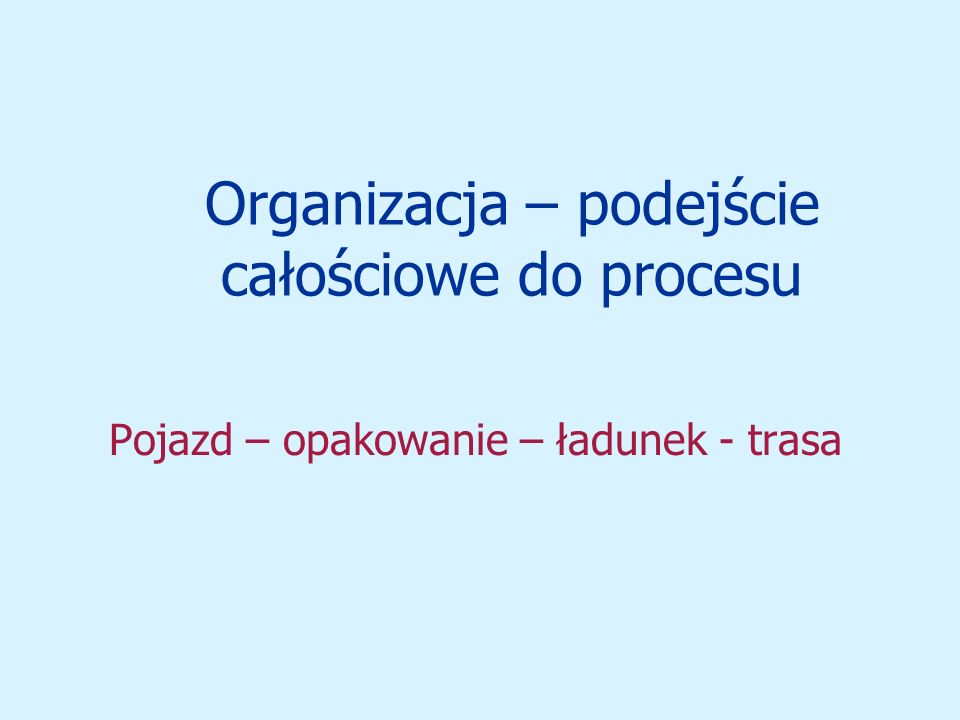 Organizacja – podejście całościowe do procesu Pojazd – opakowanie – ładunek - trasa