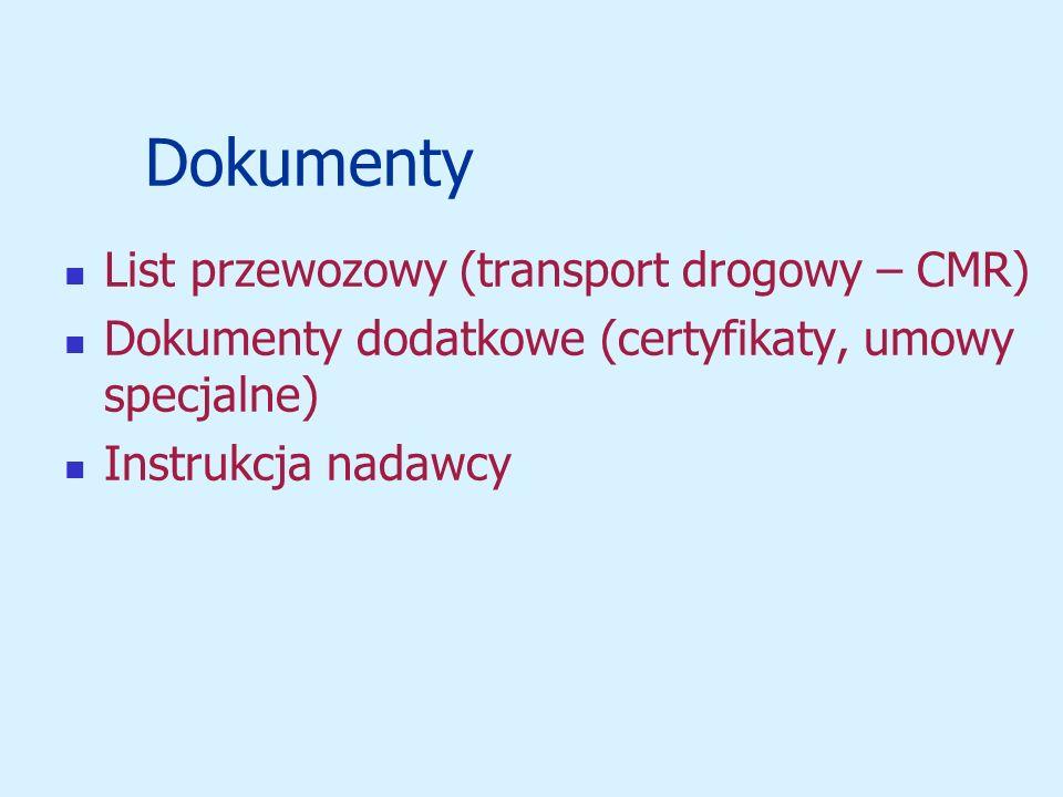 Dokumenty List przewozowy (transport drogowy – CMR) Dokumenty dodatkowe (certyfikaty, umowy specjalne) Instrukcja nadawcy