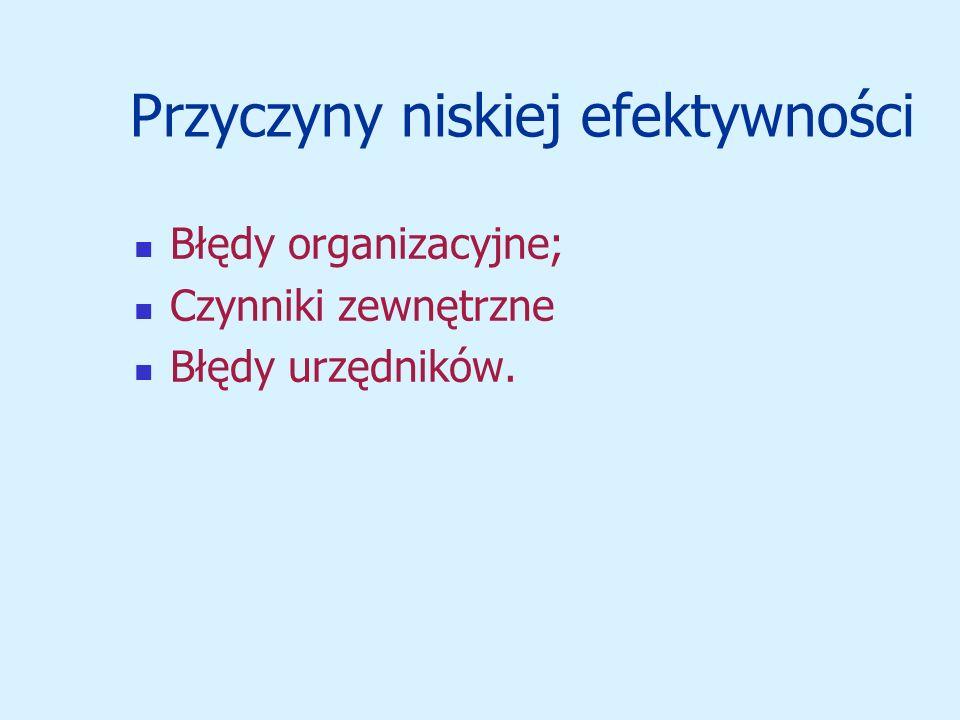 Przyczyny niskiej efektywności Błędy organizacyjne; Czynniki zewnętrzne Błędy urzędników.
