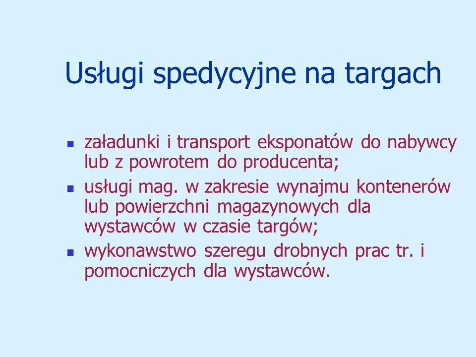 Usługi spedycyjne na targach załadunki i transport eksponatów do nabywcy lub z powrotem do producenta; usługi mag.