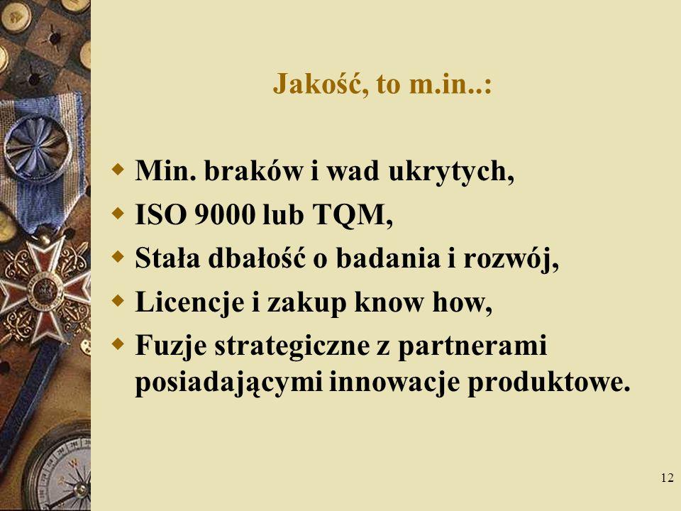 12 Jakość, to m.in..: Min. braków i wad ukrytych, ISO 9000 lub TQM, Stała dbałość o badania i rozwój, Licencje i zakup know how, Fuzje strategiczne z