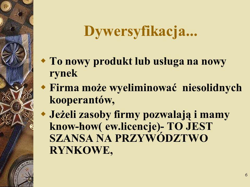 6 Dywersyfikacja... To nowy produkt lub usługa na nowy rynek Firma może wyeliminować niesolidnych kooperantów, Jeżeli zasoby firmy pozwalają i mamy kn