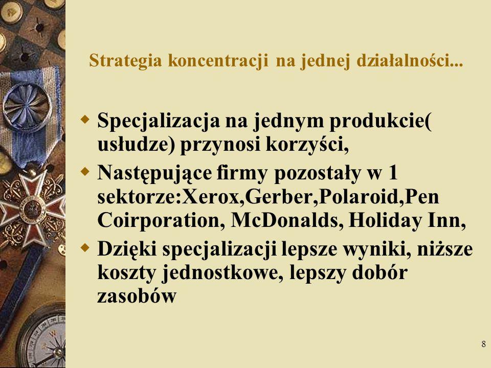 8 Strategia koncentracji na jednej działalności... Specjalizacja na jednym produkcie( usłudze) przynosi korzyści, Następujące firmy pozostały w 1 sekt