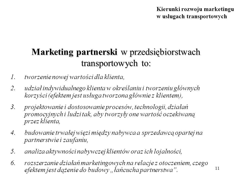 Kierunki rozwoju marketingu w usługach transportowych 11 Marketing partnerski w przedsiębiorstwach transportowych to: 1.tworzenie nowej wartości dla k