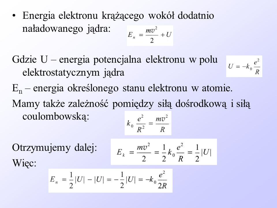 Energia elektronu krążącego wokół dodatnio naładowanego jądra: Gdzie U – energia potencjalna elektronu w polu elektrostatycznym jądra E n – energia ok