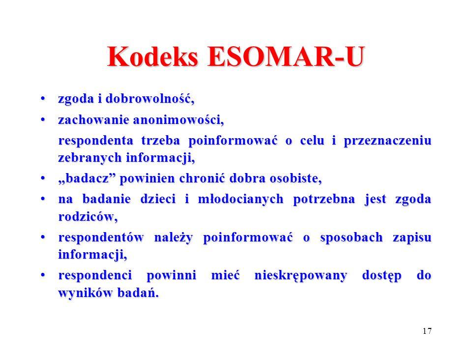 17 Kodeks ESOMAR-U zgoda i dobrowolność,zgoda i dobrowolność, zachowanie anonimowości,zachowanie anonimowości, respondenta trzeba poinformować o celu