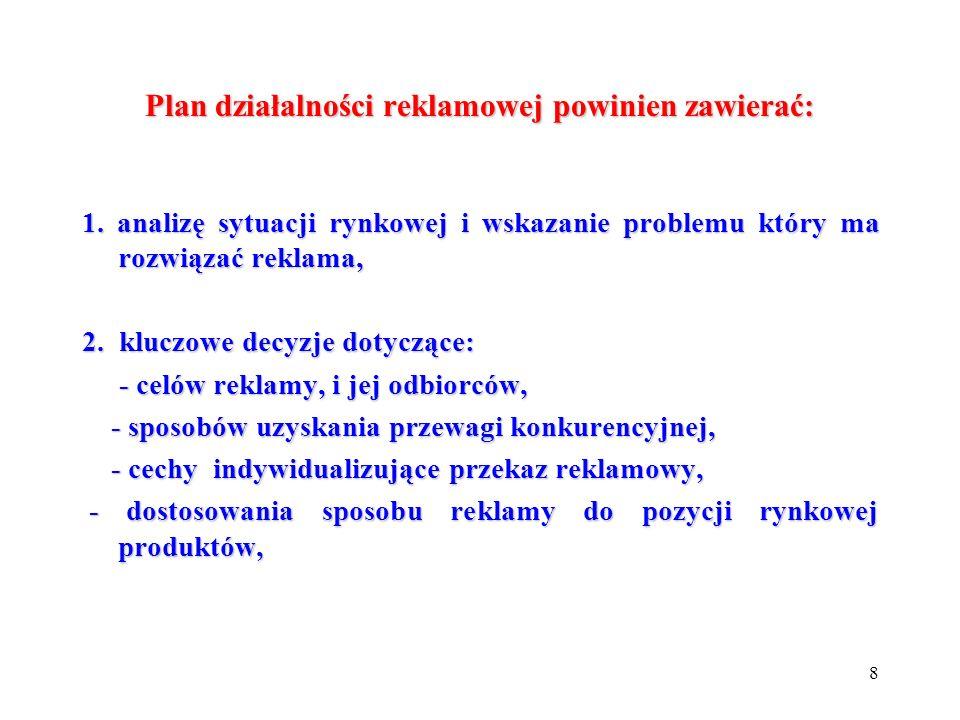 8 Plan działalności reklamowej powinien zawierać: 1. analizę sytuacji rynkowej i wskazanie problemu który ma rozwiązać reklama, 2. kluczowe decyzje do