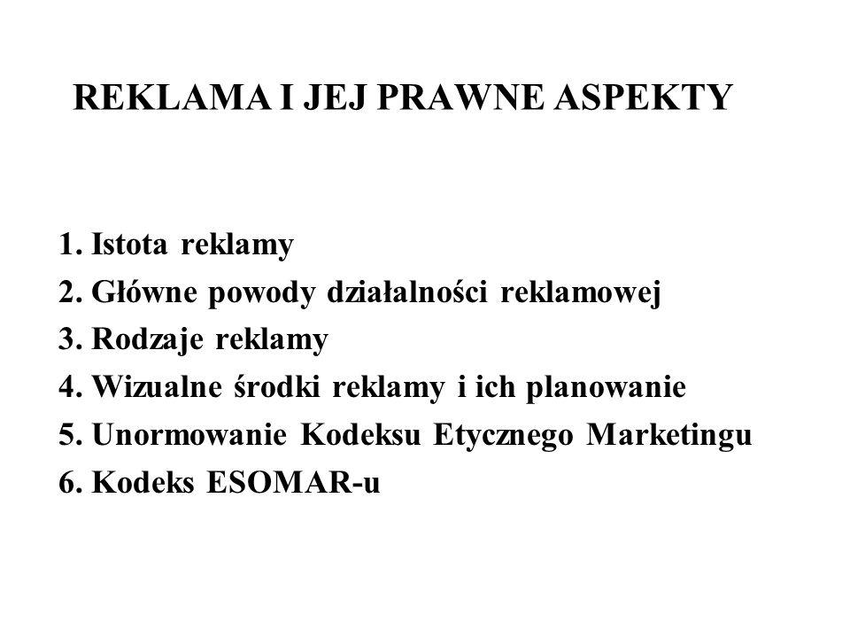 REKLAMA I JEJ PRAWNE ASPEKTY 1. Istota reklamy 2. Główne powody działalności reklamowej 3. Rodzaje reklamy 4. Wizualne środki reklamy i ich planowanie