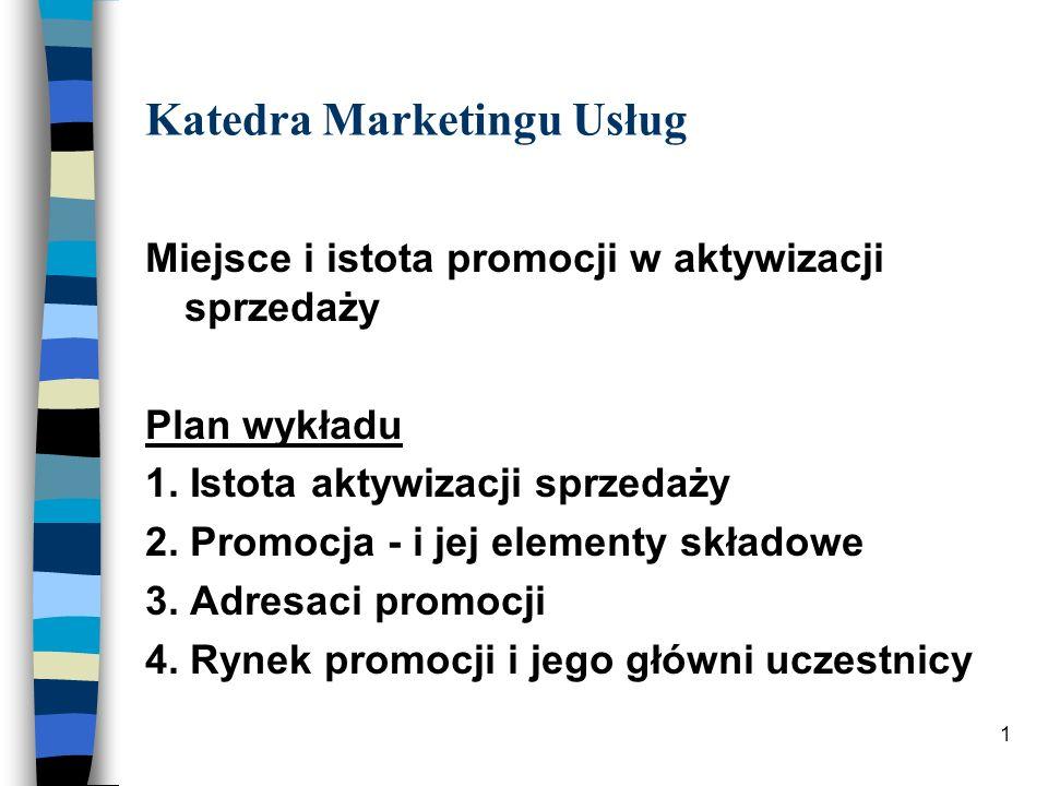 1 Katedra Marketingu Usług Miejsce i istota promocji w aktywizacji sprzedaży Plan wykładu 1. Istota aktywizacji sprzedaży 2. Promocja - i jej elementy