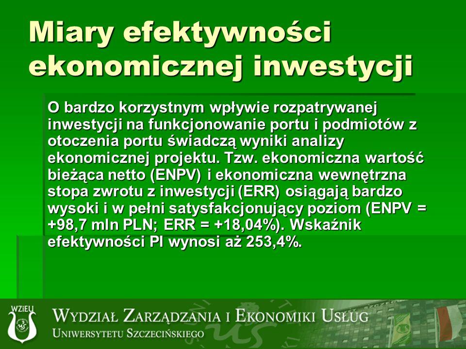 Miary efektywności ekonomicznej inwestycji O bardzo korzystnym wpływie rozpatrywanej inwestycji na funkcjonowanie portu i podmiotów z otoczenia portu świadczą wyniki analizy ekonomicznej projektu.