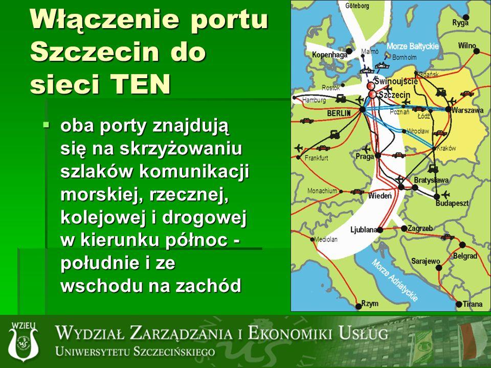 Włączenie portu Szczecin do sieci TEN oba porty znajdują się na skrzyżowaniu szlaków komunikacji morskiej, rzecznej, kolejowej i drogowej w kierunku północ - południe i ze wschodu na zachód oba porty znajdują się na skrzyżowaniu szlaków komunikacji morskiej, rzecznej, kolejowej i drogowej w kierunku północ - południe i ze wschodu na zachód
