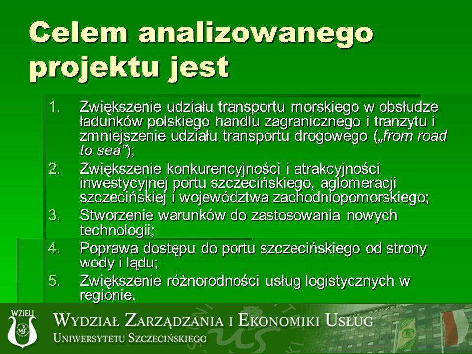 Celem analizowanego projektu jest 1.Zwiększenie udziału transportu morskiego w obsłudze ładunków polskiego handlu zagranicznego i tranzytu i zmniejszenie udziału transportu drogowego (from road to sea); 2.Zwiększenie konkurencyjności i atrakcyjności inwestycyjnej portu szczecińskiego, aglomeracji szczecińskiej i województwa zachodniopomorskiego; 3.Stworzenie warunków do zastosowania nowych technologii; 4.Poprawa dostępu do portu szczecińskiego od strony wody i lądu; 5.Zwiększenie różnorodności usług logistycznych w regionie.