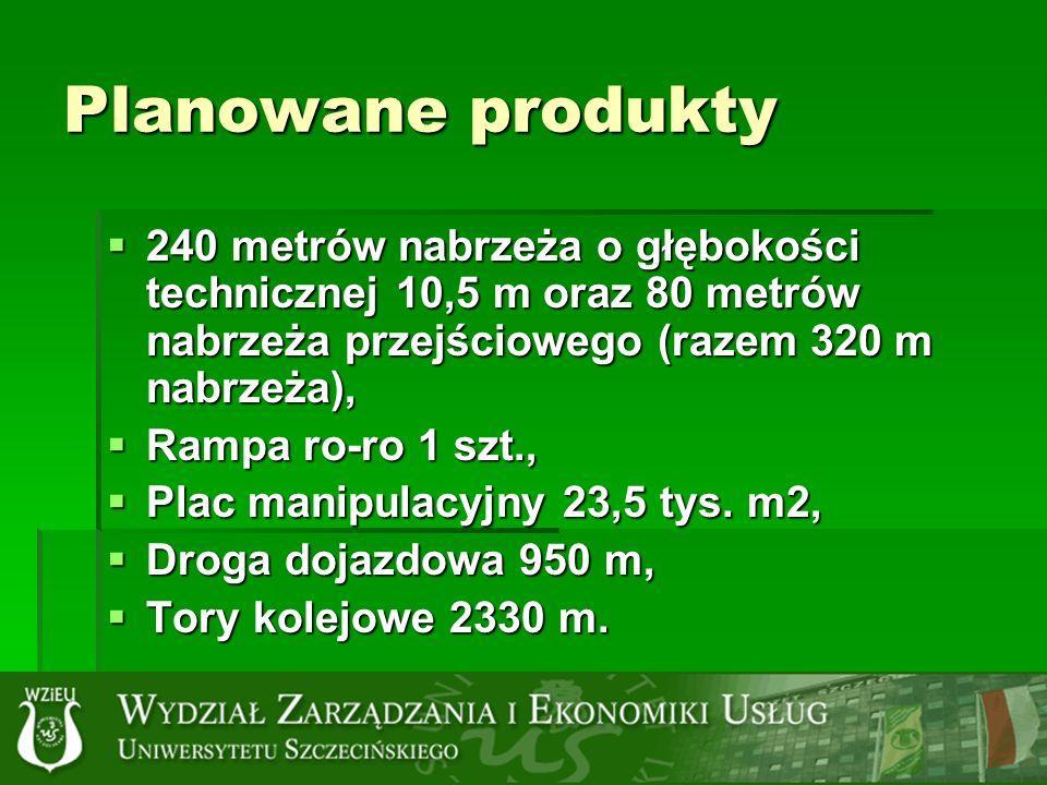 Planowane produkty 240 metrów nabrzeża o głębokości technicznej 10,5 m oraz 80 metrów nabrzeża przejściowego (razem 320 m nabrzeża), 240 metrów nabrzeża o głębokości technicznej 10,5 m oraz 80 metrów nabrzeża przejściowego (razem 320 m nabrzeża), Rampa ro-ro 1 szt., Rampa ro-ro 1 szt., Plac manipulacyjny 23,5 tys.