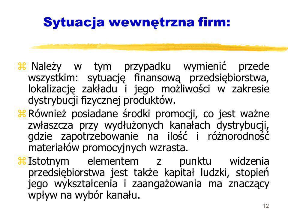 12 Sytuacja wewnętrzna firm: z Należy w tym przypadku wymienić przede wszystkim: sytuację finansową przedsiębiorstwa, lokalizację zakładu i jego możli