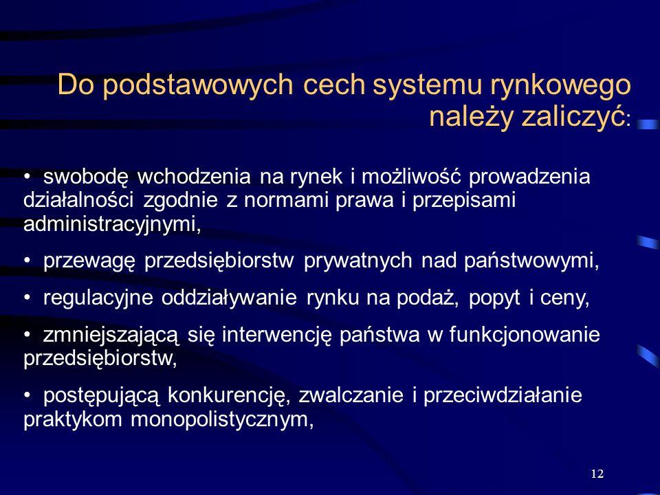 12 Do podstawowych cech systemu rynkowego należy zaliczyć : swobodę wchodzenia na rynek i możliwość prowadzenia działalności zgodnie z normami prawa i
